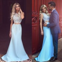 Wholesale Ocean Blue Gowns - Ocean Blue Two Pieces Evening Dresses 2017 Arabic Lebanon Mermaid Sheer Jewel Neck Lace Appliques Long Formal Party Celebrity Gowns Prom