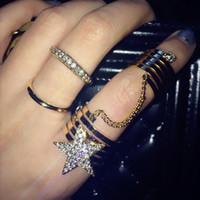 armadura de dedo para mulheres venda por atacado-2016 Moda Estrela Gothic Punk Rock Rhinestone Cruz Knuckle Conjunta Armadura Longo Anel de Dedo Presente para as mulheres menina D852E