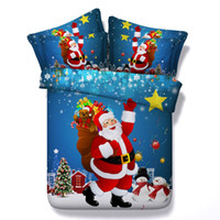 Wholesale King Size Santa Claus Bedding - Christmas Bedding set duvet covers California King queen size twin sheets bed in a bag sheet bedspreads linen Santa Claus 4PCS bedsheet