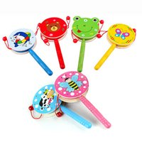 Wholesale Wholesale Children Rattle Drum - Preschool children wooden toys wooden rattle traditional musical toys wooden baby rattles Drum Musical Hand Bell Drum Toy