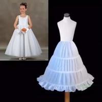 Wholesale Kids White Petticoat Skirt - 100% Same as Picture Three Circle Hoop White Girls' Petticoats Ball Gown Children Kid Dress Slip Flower Girl Skirt Petticoat Free Shipping