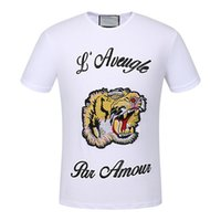 Wholesale Modal Tees Tops - 2017 fashion top brand short sleeve animal printed t-shirt Black tiger embroidery hand - sleev tee shirts Hipster O-neck cool tops Unisex