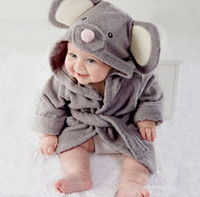Wholesale Kids Thermal Clothes - Kids Robes Girls Boys Cartoon Bathrobe 1-6Year Infant baby hooded bath towel Robe 2017 Flannel Sleepwear children's clothing D12
