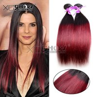 Wholesale Cheap Remy Hair Extentions - Wholesale Brazilian hair 5pcs Cheap remy hair extensions two tone ombre hair extentions color 1b burgundy brazillian ombre hair full bundles