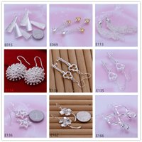 Wholesale Earrings Dangle Mixed - Mix order 9 pairs diffrent style women's 925 silver earring GTE21,hot sale wholesale fashion sterling silver Dangle Chandelier earrings