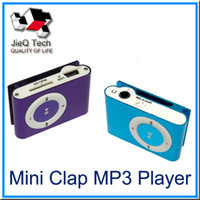 Wholesale black mini clip mp3 player online - Mini Clip MP3 Player Factory Price Come With Crystal Box Earphones USB Cable Support TF Card Micor SD Card