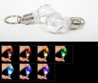 Wholesale wholesale keychains cheap - 100pcs cheap Novelty LED Light Bulb Shaped Ring Keychain Flashlight Colorful Mini-lights Lamp