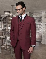 Atacado 2016-italiano Custom Made Burgundy Men casamento Ternos Jacket baratos + Calças + Tie + Vest Men smoking para Suits Wedding Groomsmen