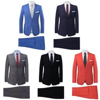 Wholesale mens wedding suit long - men suit slim fit New Silm Fit Best Man Suit Blue Groomsman Mens Wedding Prom Suits
