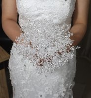 Wholesale Bridesmaid Bridal Bouquet - In Stock White Luxury Beading Crystals Artificial Wedding Flowers Bridal Bouquets Handmade Bridesmaid Flowers Free Shipping Size 20cm*20cm