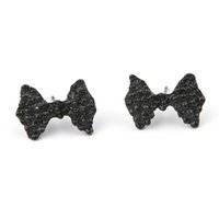 Hot Sale New Geometric Square Stud Earrings Design de moda Black Bow Ear Bowknot Stud Statement Earring Gift