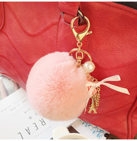 Wholesale Trendy Yellow Handbags - Keyring Key Ring Cute Genuine Rabbit Fur Ball Car Gold Keychain Handbag PomPom Charm Key Tassel Pendant Car Accessories SS0005