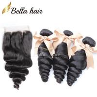 siyah üst kapaklar toptan satış-Bella Hair® 8A Saç Örgüleri Kapatma Brezilyalı İnsan Saç Uzantıları İnsan Saç Atkı Ile Üst Dantel Kapatma Siyah Gevşek Dalga Demetleri