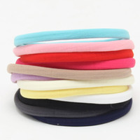 Wholesale Soft Band For Hair - baby soft spandex nylon headband for children skinny very stretchy Non-Marking headwear nylon elastic head band 100pcs lot