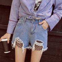 Wholesale Girls High Waisted Denim Shorts - The 2017 Summer Preppy Style Denim Shorts New Big Hole Jeans High Waisted Jeans Girl Colored Shorts