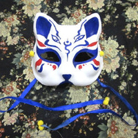 Wholesale Kitsune Mask - Wholesale-Half Face Hand-Painted Japanese Style Fox Mask Kitsune 4 Eyes Blue Color Cosplay Masquerade for Party Halloween