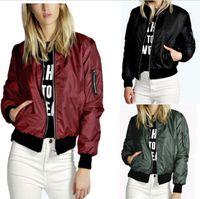 Wholesale Classic Women Jackets - 2016 Lady Casual Classic Padded Bomber Jacket Womens Retro Vintage Zip Up Biker Coat
