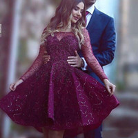 Wholesale Long Purple Sparkly Homecoming Dress - 2016 Sparkly Illusion Long Sleeve Homecoming Dresses Sheer Scoop Neck Sequins Tulle Appliques Short Prom Dress Knee Length Arabic Gowns