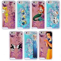 Wholesale Tinkerbell Iphone 5s Case - For iphone 5 5s 6 4.7,6 Plus Snow White Tinkerbell Cute Kiss Mickey Bling Sand Glitter Stars Quicksand Hard Plastic Case Cover