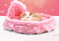 Wholesale Wholesale Princess Beds - The new spot pet products fashion princess bed with bowknot lace dog kennel comfortable soft warm breathable moistureproof Free shipping