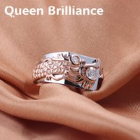 Queen Brilliance 4mm Lab Grown Moissanite Diamond Dragon Design anillo de bodas genuino 14K 585 Two Tones Gold joyería de moda 17903