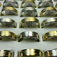 Wholesale Gift Packs For Men - Fashion New Gold Silver Stainless Steel Rings For Women Men Jewelry Wholesale Packs Lots LR114 Free Shipping