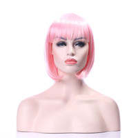 Wholesale Long Bob Wigs Bangs - Capless Pink Color New Arrrival Long Straightr Synthetic Hair Wigs Full Wigs Fashion Daily Wig Party Wig Full Bang Bob Wig