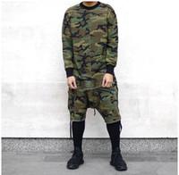 tyga uzun kollu toptan satış-Toptan-Uzun kollu t-shirt streetwear Justin Biber giyim tshirt kanye west kamuflaj hip hop swag kaykay t shirt tyga tarzı