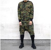 Wholesale Tyga Shirts - Wholesale-Long sleeve t-shirt streetwear Justin Biber clothing tshirt kanye west camouflage hip hop swag skateboards t shirts tyga style
