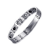 Wholesale Mens Health Bracelets - Fashion Tungsten Germanium Link Chain Bracelets Trendy Health Care Womens Mens Jewelry with Magnet Stone Bracelet Anniversary Gift B882S