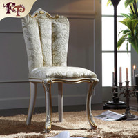 Wholesale Vintage classic solid wood dining chair European Palace furniture with cracking paint and gold leaf decoration