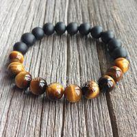 Wholesale Bracelet Half Beads - Wholesale-New Half Design 10MM Tiger Eye And Matte Black Onyx Men Bead Bracelet High Grade Male Wristband Fashion Handmade Men Jewelry