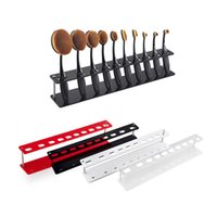 Wholesale Holder Toothbrush Stand - 10pcs Toothbrush Oval Makeup Brushes Display Holder Stand Storage Boxes Organizer Brush Showing Rack Plastic Acrylic Brush Stand 2805064