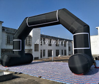 Wholesale air cans for sale - Group buy cheap free standing inflatable black arch with free air blower can custom size and color made from oxford fabric