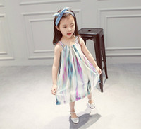 Wholesale Sunshine Dress - Girls Chiffon Dress 2016 Baby Kids Clothing Girls Dresses Sleeveless Lace-up Suspender Dress Sunshine Beach Clothes Casual Sets Fashion 9218