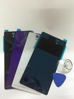 Wholesale Xperia Z Battery Cover - High Quality NEW Battery Door for Sony Xperia Z L36H LT36 C6603 C6602 Back Glass Cover Rear Housing Case Replacement Part with Tool