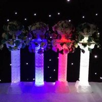 Wholesale wedding plastic roman props - Unique Design Fashion LED Luminous Hollow Plastic Roman Column for Wedding Aisle Runner Welcome Area Decoration Supplies