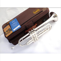Wholesale Instrument Trumpet Silver - Wholesale-Senior French Bach Silver Plated Bach Trumpet LT-180S-43 Small Brass Musical Instrument Trompeta Professional High Grade.