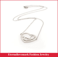 Wholesale Stainless Steel Heart Shaped Necklace - Medical stethoscope heart shaped pendant necklace with cross round chain stainless steel fashion jewelry USA MJCM-053