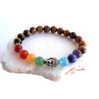 ingrosso braccialetti dell'occhio della tigre argento-SN0571 Nuovo braccialetto di Chakra di Buddha Bracciale di Chakra dell'occhio di tigre Braccialetto di meditazione di yoga per ragazze Braccialetto di Buddha in argento Spedizione gratuita