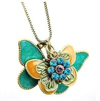 Beautiful Butterfly Diamante Flor Double Butterfly Necklace Sweater Long Sweater Corrente Pingente Colares Encantadora Jóias DHL