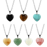 Wholesale Simple Natural Crystal Necklace - Fashion Natural Stone Pendant Necklace Simple Love Heart Turquoise Crystal Stone Necklaces & Pendants Charms Jewelry for Women
