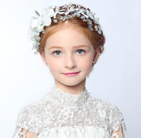 Wholesale Crystal Flower Heads - Crystal Beaded Bow Girls' Head Pieces Children Hair Flower girls Christmas party Wedding Hair Accessories Jewelry 2016 Hot Sale