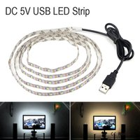 Wholesale Led Cable Lighting For Pc - USB Cable 5V Power LED lights Strip SMD 3528 Christmas Desk Decor LED Rope for TV Background Lighting