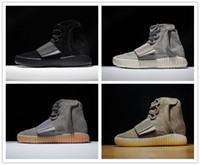 2017 Kanye West 750 Boost Light Grey Brown Boost Discount Athlétisme 750 Gum Grow dans l'obscurité High Leather Suede With Original Box