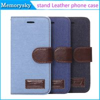 Wholesale apple jeans - Denim Lines Jeans Stand Leather Case for iPhone 4.7'' 5.5'' iphone 5SE Flip Cowboy Wallet Holster Credit ID Card Slot