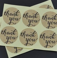 Wholesale Factory Stickers - Factory direct round 3cm 'Thank You' Typeface Brown Kraft Paper Stickers For Envelopes Card Bag sealing sticker