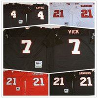 Throwback Atlanta jersey Falcons 4 Brett Favre 7 Michael Vick 21 Deion Sanders Bianco Nero Rosso Home Away Stitched Jerseys