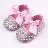 Wholesale Soft Soled Shoes Cloth - 2016 New Baby Girl Dress Shoes Shinning Pearl Cloth Big Bowknot First Walker Toddler Shoes Elastic Band Anti-slip Soft Sole 0-12 Months