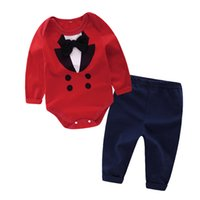 Wholesale Cool Baby Gentleman - Newborn Baby Clothing sets INS Europe and the new boy gentleman suit cotton suit two pieces baby cool cotton outfits